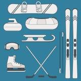 Εξοπλισμός χειμερινών αθλητισμού και δραστηριοτήτων Στοκ Φωτογραφία