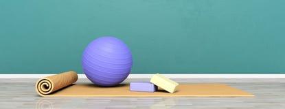 Εξοπλισμός Pilates Χαλί και pilates σφαίρα άσκησης στο ξύλινο πάτωμα, έμβλημα, διάστημα αντιγράφων τρισδιάστατη απεικόνιση απεικόνιση αποθεμάτων