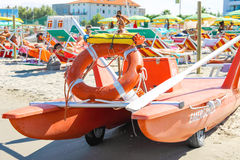 Εξοπλισμός ασφάλειας στην παραλία Igea Bellaria μαρίνα, Rimini Στοκ εικόνα με δικαίωμα ελεύθερης χρήσης