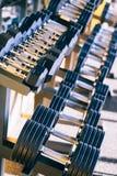 Εξοπλισμός βαρών αλτήρων σε μια σειρά στη γυμναστική Στοκ φωτογραφίες με δικαίωμα ελεύθερης χρήσης