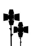 Εξοπλισμός για τα στούντιο φωτογραφιών και τη φωτογραφία μόδας Μαύρο silh Στοκ εικόνα με δικαίωμα ελεύθερης χρήσης