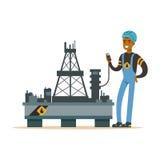 Εξοπλισμός επιθεώρησης Oilman σε μια πλατφόρμα διατρήσεων πλατφορμών άντλησης πετρελαίου, μια εξαγωγή βιομηχανίας πετρελαίου και  ελεύθερη απεικόνιση δικαιώματος
