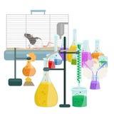 Εξοπλισμός ερευνητικών εργαστηρίων εκπαίδευσης χημείας, σωλήνας γυαλιού εργαστηρίων επιστήμης, διάνυσμα Στοκ Φωτογραφίες