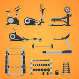 Εξοπλισμός ικανότητας και γυμναστικής διανυσματική απεικόνιση