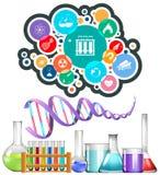 Εξοπλισμός και εικονίδια επιστήμης διανυσματική απεικόνιση