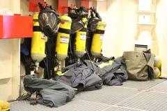 Εξοπλισμός κατάδυσης σε ένα θωρηκτό Στοκ Εικόνες