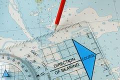 Εξοπλισμός ναυσιπλοΐας που σχεδιάζει μια σειρά μαθημάτων Στοκ εικόνα με δικαίωμα ελεύθερης χρήσης