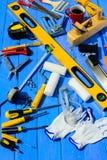Εξοπλισμός οικοδόμων εργαλείων στοκ εικόνα