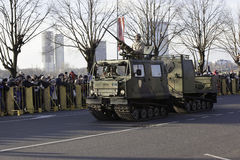 Εξοπλισμός πυροβολικού στη militar παρέλαση στη Λετονία Στοκ φωτογραφία με δικαίωμα ελεύθερης χρήσης