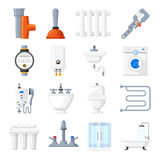 Εξοπλισμός υδραυλικών και διανυσματικά εικονίδια εργαλείων απεικόνιση αποθεμάτων