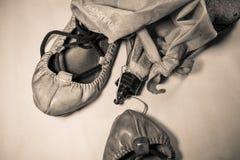 Εξοπλισμός φεστιβάλ μουσικής de bayonne Fetes - χορεύοντας παπούτσια και εξαρτήματα στη σέπια Στοκ εικόνες με δικαίωμα ελεύθερης χρήσης