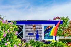 Εξοχικά σπίτια κατά μήκος της παραλίας στον κώδικα ακρωτηρίων Provincetown Στοκ Εικόνα