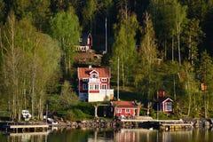 Εξοχικά σπίτια στη Σουηδία Στοκ Εικόνα