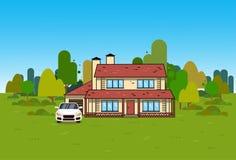 Εξοχικό σπίτι εγχώριων εξωτερικό σπιτιών πέρα από το πράσινο φυσικό υπόβαθρο ελεύθερη απεικόνιση δικαιώματος