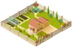 Εξοχικό σπίτι και μεγάλος κήπος με την πέργκολα, το θερμοκήπιο και τα λουλούδια τρισδιάστατη isometric απεικόνιση ελεύθερη απεικόνιση δικαιώματος