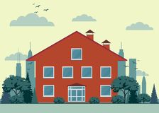 εξοχικό σπίτι περίεργο Μέτωπο του σπιτιού και του κήπου Στοκ Εικόνα
