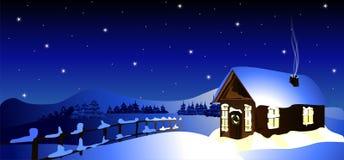 Εξοχικό σπίτι στο χειμερινό δάσος (διάνυσμα) Στοκ Εικόνες
