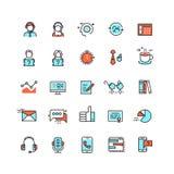 Εξυπηρέτηση πελατών, διανυσματικά επίπεδα εικονίδια τηλεφωνικών κέντρων διανυσματική απεικόνιση