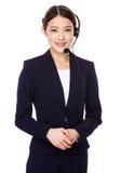 Εξυπηρετήσεις πελατών αντιπροσωπευτικές με την κάσκα Στοκ Φωτογραφία
