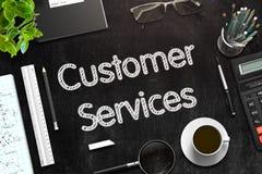 Εξυπηρετήσεις πελατών στο μαύρο πίνακα κιμωλίας τρισδιάστατη απόδοση Στοκ εικόνα με δικαίωμα ελεύθερης χρήσης