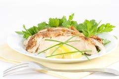 Εξυπηρετήστε το κρύο κοτόπουλο λεμονιών στοκ εικόνες