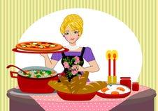 Εξυπηρετώντας γεύμα μητέρων διανυσματική απεικόνιση
