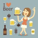 Εξυπηρετώντας μπύρα κοριτσιών ελεύθερη απεικόνιση δικαιώματος