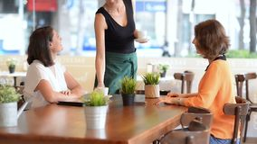 Εξυπηρετώντας πελάτες σερβιτορών απόθεμα βίντεο