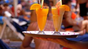 Εξυπηρετώντας ποτά σερβιτόρων στην παραλία, Αίγυπτος Σερβιτόρος που κρατά έναν δίσκο με τους τροπικούς χυμούς απόθεμα βίντεο