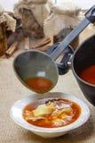Εξυπηρετώντας σούπα ντοματών. Χύνοντας σούπα σε ένα πιάτο Στοκ φωτογραφία με δικαίωμα ελεύθερης χρήσης