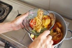 Εξυπηρετώντας stew κοτόπουλου Στοκ Φωτογραφίες