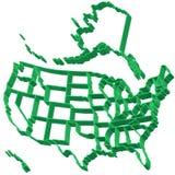 Εξωθημένος χάρτης των ΗΠΑ Στοκ Φωτογραφία