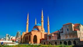 Εξωτερική άποψη στο μουσουλμανικό τέμενος του Μωάμεθ Al-Amin, Βηρυττός, Λίβανος Στοκ Εικόνες