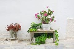 Εξωτερική διακόσμηση των λουλουδιών και των δοχείων στο ελληνικό ύφος Στοκ εικόνες με δικαίωμα ελεύθερης χρήσης