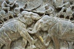 Εξωτερική λεπτομέρεια της Don Chedi bas-ανακούφισης μνημείων σε Suphan Buri, Ταϊλάνδη Στοκ Εικόνα