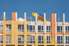 Εξωτερική μόνωση τοίχων Στερεά μόνωση τοίχων Ανακαίνιση τοίχων σπιτιών ενεργειακής αποδοτικότητας για την ενέργεια - αποταμίευση  Στοκ Εικόνα