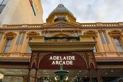 Εξωτερική πρόσοψη οικοδόμησης της Αδελαΐδα Arcade ιστορική Στοκ εικόνα με δικαίωμα ελεύθερης χρήσης