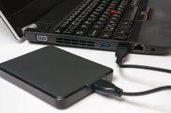 Εξωτερικός σκληρός δίσκος HDD που συνδέεται με το φορητό προσωπικό υπολογιστή Στοκ εικόνες με δικαίωμα ελεύθερης χρήσης