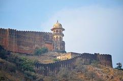 Εξωτερικός τοίχος του ηλέκτρινου οχυρού, Jaipur Στοκ εικόνα με δικαίωμα ελεύθερης χρήσης