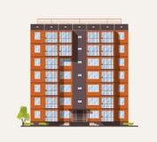 Εξωτερικό ή πρόσοψη της ψηλής πολυκατοικίας πόλεων που χτίζεται με τις συγκεκριμένους προκατασκευασμένους επιτροπές ή τους φραγμο απεικόνιση αποθεμάτων