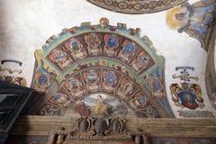 Εξωτερικό αίθριο Archiginnasio στη Μπολόνια, Ιταλία Στοκ εικόνες με δικαίωμα ελεύθερης χρήσης
