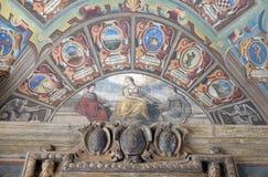 Εξωτερικό αίθριο Archiginnasio στη Μπολόνια, Ιταλία Στοκ φωτογραφία με δικαίωμα ελεύθερης χρήσης