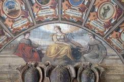 Εξωτερικό αίθριο Archiginnasio στη Μπολόνια, Ιταλία Στοκ Εικόνες