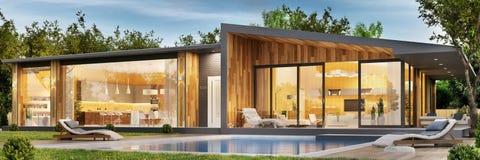 Εξωτερικό και εσωτερικό σχέδιο ενός σύγχρονου σπιτιού με μια λίμνη στοκ φωτογραφία