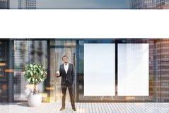 Εξωτερικό καφέδων, δύο αφίσες, επιχειρηματίας Διανυσματική απεικόνιση