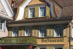 Εξωτερικό παραδοσιακού κτηρίου, Appenzell, Ελβετία Στοκ Φωτογραφία