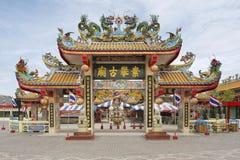 Εξωτερικό της πύλης ναών απογόνων δράκων σε Suphan Buri, Ταϊλάνδη Στοκ Εικόνες