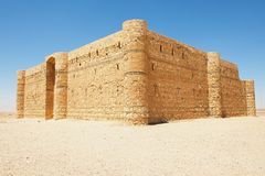 Εξωτερικό του κάστρου Qasr Kharana Kharanah ή Harrana ερήμων κοντά στο Αμμάν, Ιορδανία Στοκ Εικόνες