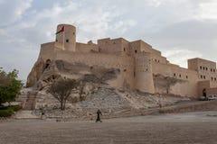 Εξωτερικό του οχυρού Nakhal κατά τη διάρκεια του ηλιοβασιλέματος, Ομάν, Μέση Ανατολή στοκ φωτογραφία με δικαίωμα ελεύθερης χρήσης