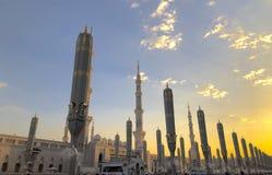 Εξωτερικό του πύργου, θόλοι στο κτήριο μουσουλμανικών τεμενών Nabawi's σε Medina στοκ εικόνες με δικαίωμα ελεύθερης χρήσης